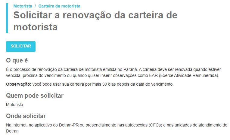 Renovação da sua CNH pelo site do Detran PR